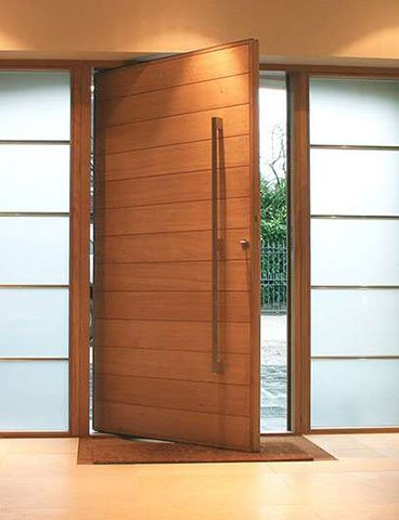 Simple Teak Color Wood Main Entry Composite Door Design Ry